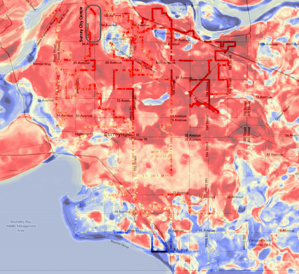 Figure 2: 2017 Surrey Heat Map – Afternoon Temperature. This map displays relative temperature across Surrey during a heatwave in summer 2017. Dark red indicates the hottest areas, dark blue the coolest. Source: City of Surrey, 2017