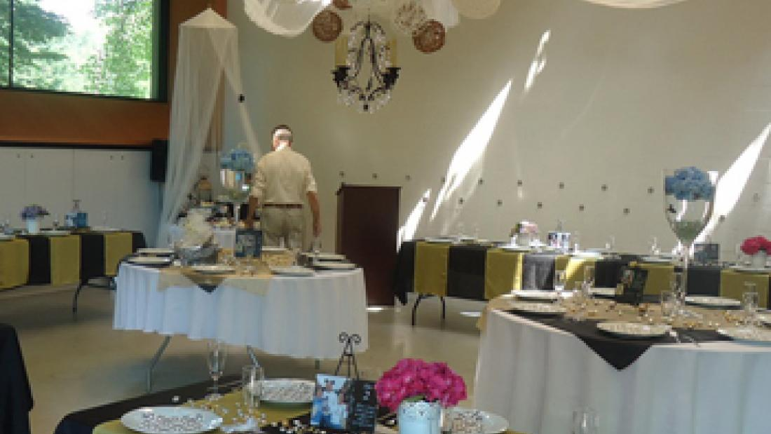 Forest Room Decorated for Wedding Reception