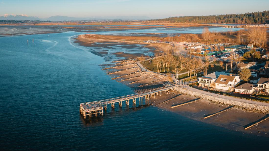 Aerial View of the Pier at Crescent Beach