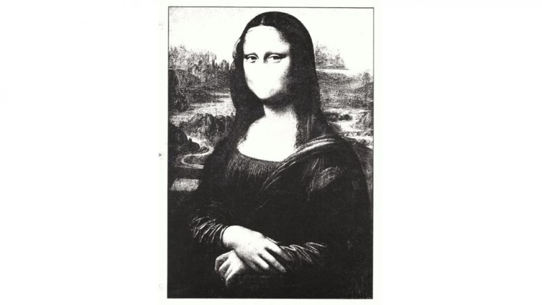 Ed Varney, Mona Lisa art stamps, 1988, altered photocopy. Surrey Art Gallery permanent collection.