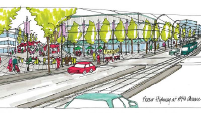 Artistic rendering of Fraser Highway at 84th Avenue