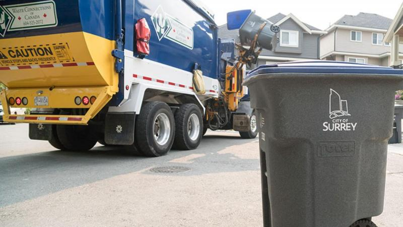 waste collection truck and bin