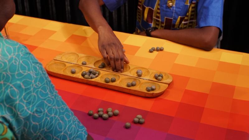 Close up of a board game being played