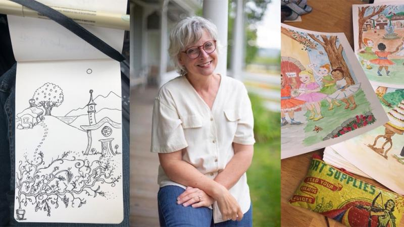 Barbie Warwick with some of her sketches