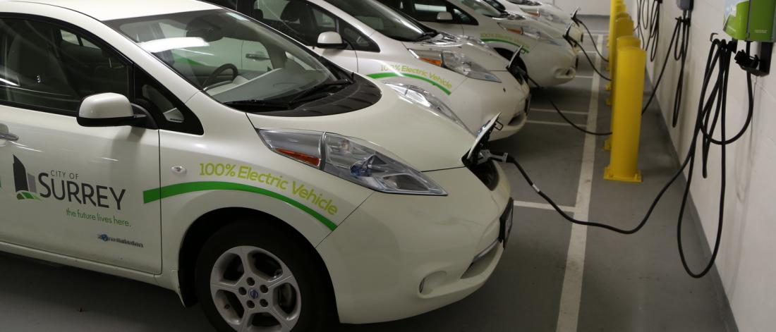 Row of white electric vehicles in a parkade
