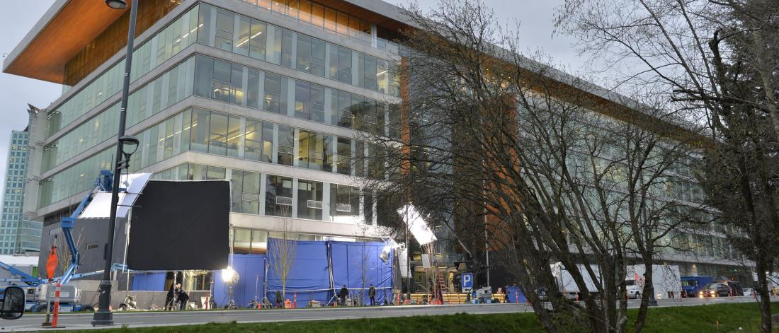 Film production outside Surrey City Hall