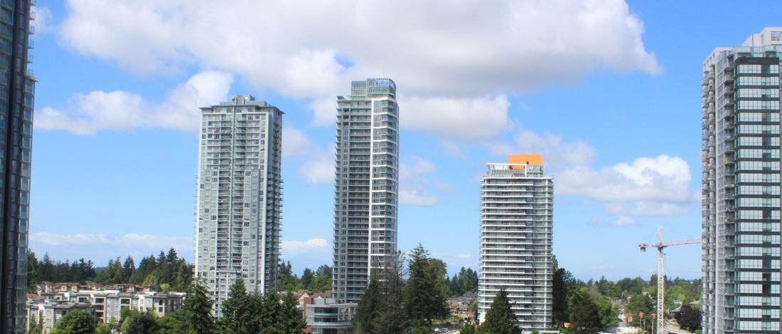 High rises in Surrey, blue sky