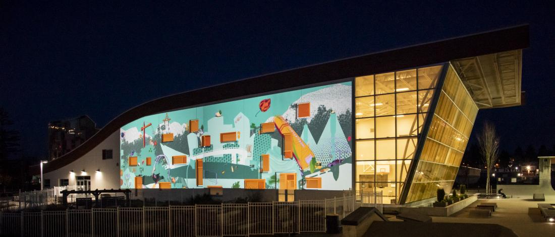 Installation view of I Spy a City at UrbanScreen