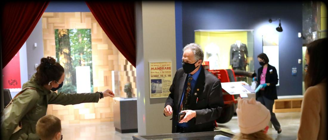 Visitors to Museum of Surrey meet with Lon Mandrake, magician, and son of the late famous Mandrake the Magician. Lon returns to the museum April 10, 17, 24 for Magic Saturdays where he'll perform magic tricks from safe social distance. Registration required.