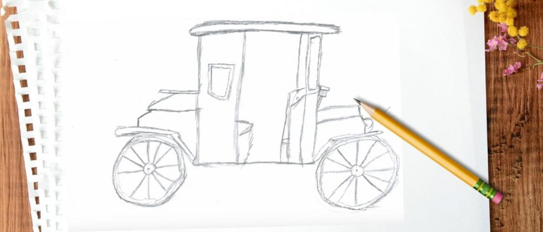 A sketch of the replica Studebaker in the Shake Up exhibit