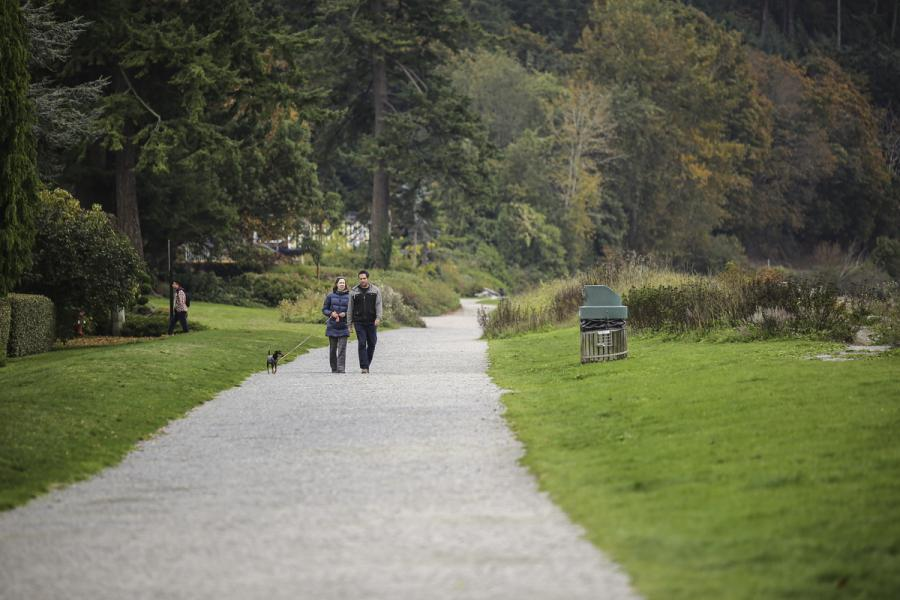two people walking their dog in a park