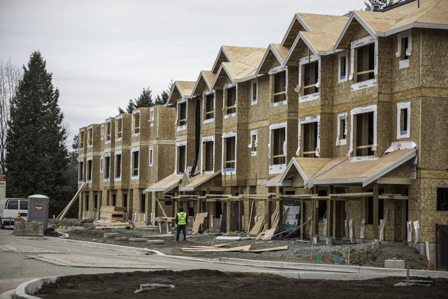 Townhouses in the process of being built
