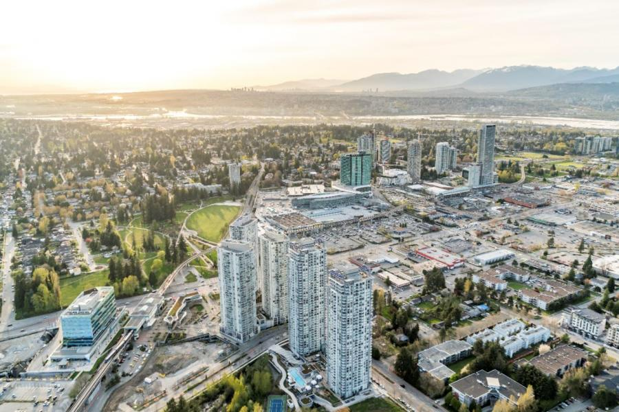 Surrey City Centre aerial in spring 2018