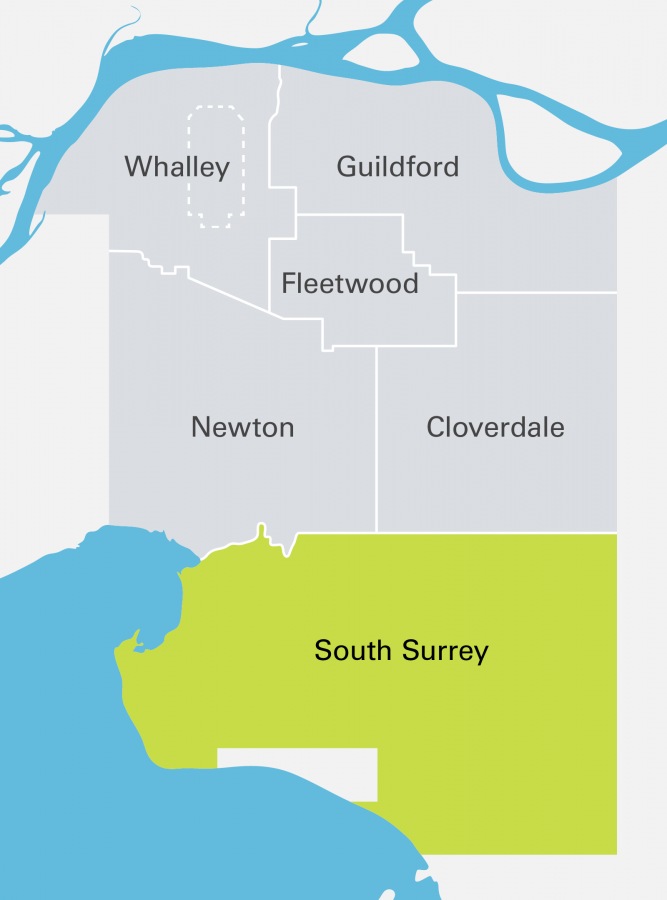 South Surrey Highlighted Community Map
