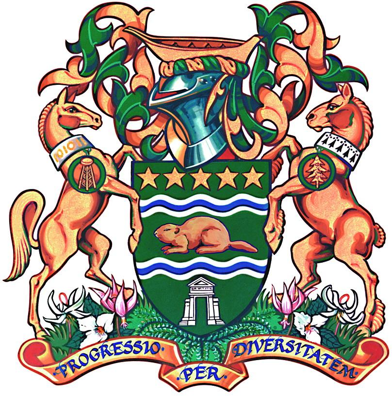 surrey's coat of arms with two horses, a beaver, and a green shield
