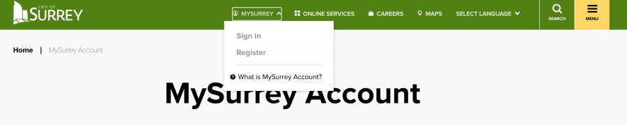 MySurrey Menu dropdown