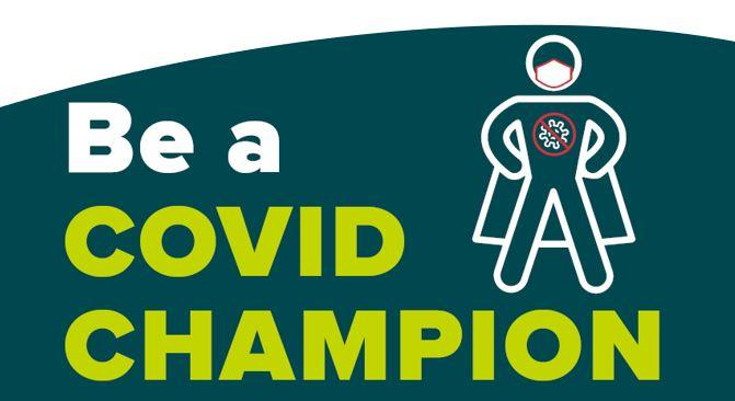 Be a COVID Champion street sign