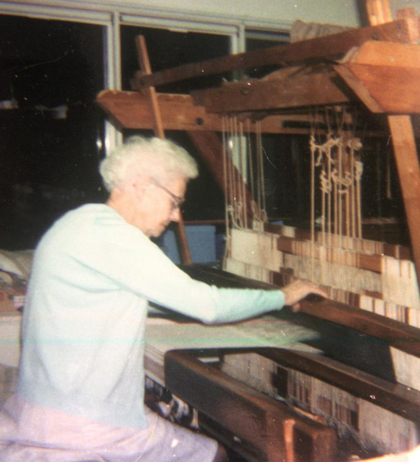 Honey Hooser at her Loom.